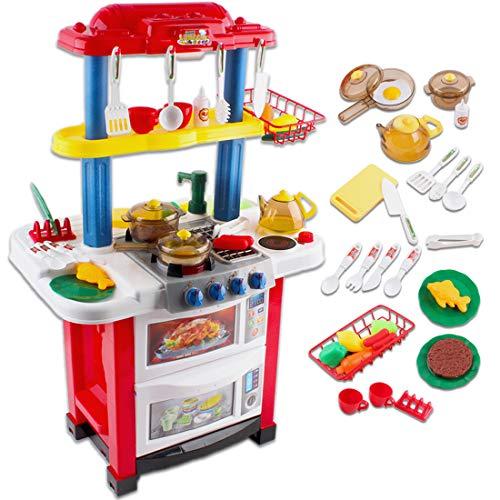 """deAO Kinder-Küchenspielset """"Happy Little Chef"""" (""""Fröhlicher kleiner Koch"""") mit Sound-und Lichteffekten und Wasserfunktion-33-teiliges Zubehör"""