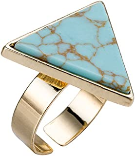 LUFA L'oro regolabile turchese della lega degli anelli placcati geometrica Triangolo anello di pietra naturale