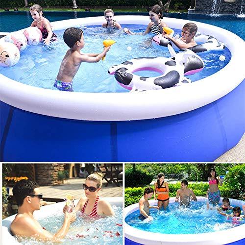 BIYLL Aufblasbarer Pool, Blue Rundpool 300x76 cm Quick-Up Swimming Pool Fast-Set Schwimmbad Kinder und Familien Schwimmbecken Schwimmbad für Garten und Terasse