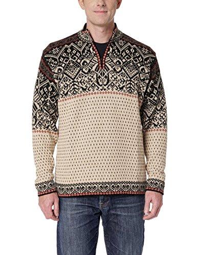 Invisible World Men's 100% Alpaca Wool Sweater Half Zip Nordic Pullover XXL White