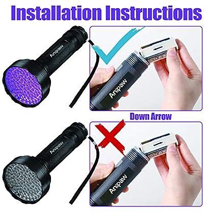 Anipaw Black Light UV Flashlight, Portable 100 LED UV Light Blacklight Detector for Pet (Dog/Cat) Urine Detection, Pet Stains, Bed Bug, Matching with Pet Odor Eliminator 7