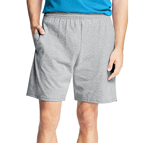 Hanes Men's Jersey Short with Pockets, Light Steel, Medium