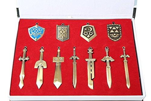 The Legend of Zelda Metal Shield & Sword Weapons Necklace Set of 11