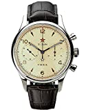 Gold SWAN Neck SEA-Gull 1962 (New Gaviota 1963) 40MM Luminoso zafiro cristal genuino cuero ST1901 reloj piloto cronógrafo SU1962R40X