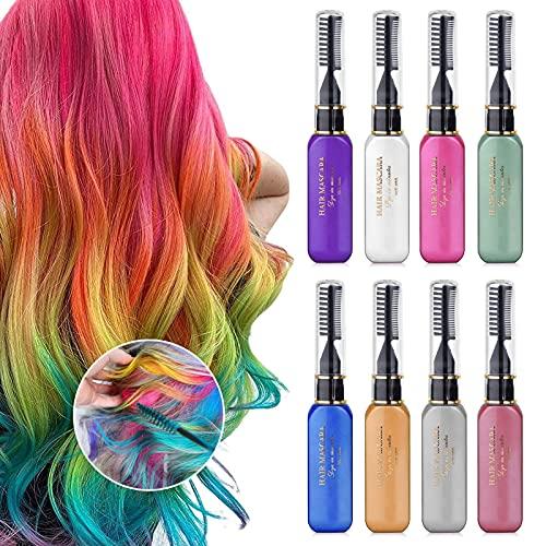 Temporäre 8 Farben Haarkreide , Haarfarbe Kreide Kamm Waschbare Farbwimperntusche, Geschenk für Urlaub, Party, Kinder, Dame