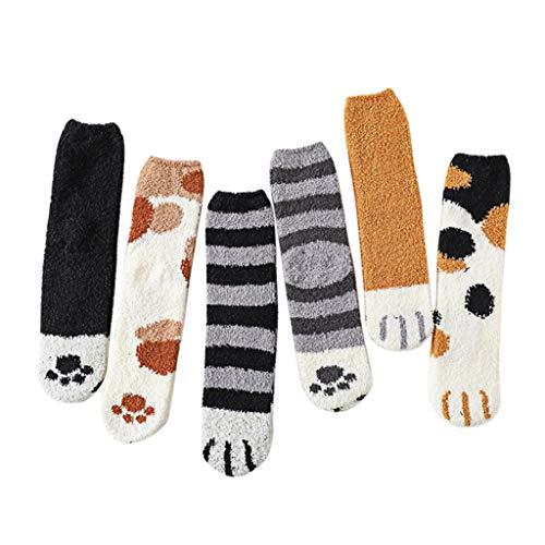 LQQSTORE Cat Socken Damen Kawaii Kuschelsocken 6 Paar Warm Slipper Socks Frauen Cute Meow Baumwolle Socken Mädchen Haussocken Bettsocken Weihnachtssocken Stricksocken Winter