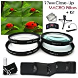 High Resolution 77mm Close-Up MACRO Filter Set + Accessory Kit for NIKON 28-300mm, 18-300mm DSLR Zoom Lenses and CANON 24-105MM, 10-22MM, 17-40MM Lenses - Includes: 77mm Close-up Macro filters 1+ 2+ 4+ 10+ + Wallet Case Holder + Lens Cap Keeper + Fle