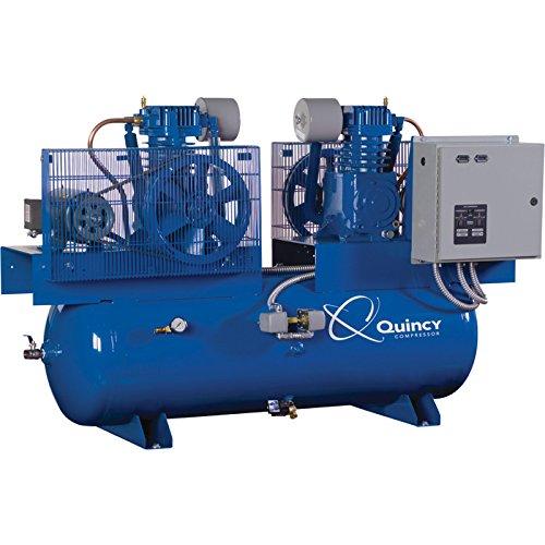 Quincy Duplex Air Compressor - 7.5 HP, 230 Volt, 1 Phase, 120 Gallon Horizontal, Model Number 271CC12DC
