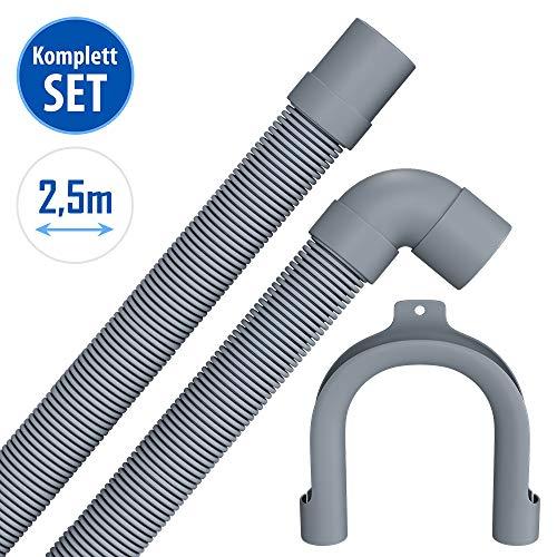 2,5m Ablaufschlauch für Waschmaschine Spülmaschine mit 19mm gerade /22mm Winkelanschluss mit Bügel Flexibler Abflussschlauch Abwasserschlauch 2,5 m