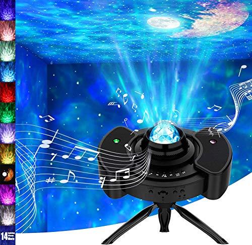 Wurkkos Sternenhimmel Projektor, 360° Stern Himmel Projektion Nacht Licht mit Bluetooth, LED Mondlicht für Erwachsene, Kinder, Dekoration, Geschenk