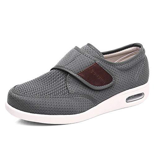 B/H Zapatillas Transpirables para Caminar,Zapatos de pie diabético de Primavera y Verano, pies hinchados para Ancianos con Pulgar valgus-40_Gray