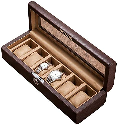 SONGTAO Large Watch Box For Men - 5 Watches Slots Jewelry Organizer Faux Leather Storage Display Case With Glass Top
