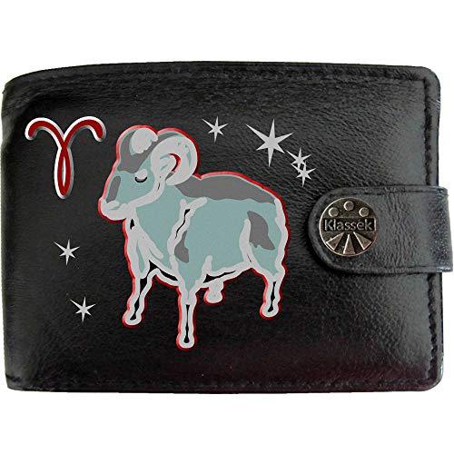 der Widder Aries Tierkreis Astrologie Sternzeichen Bild auf KLASSEK Marken Herren Geldbörse Portemonnaie Echtes Leder RFID Schutz mit Münzfach Zubehör Geschenk mit Metall Box