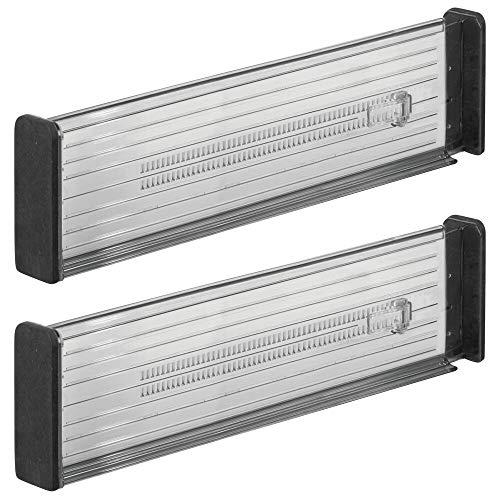 MDESIGN 2er-Set Verstellbarer Schubladeneinsatz – praktischer Schubladen Organizer für Küchenschränke – Flexibler Schubladenteiler aus Kunststoff – dunkelgrau/schwarz