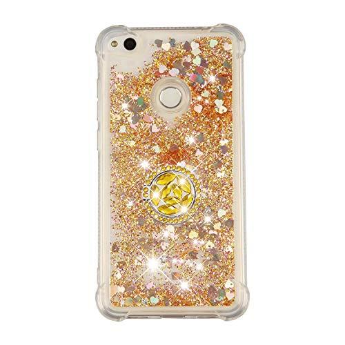 Funda Huawei P8 Lite 2017/Honor 8 Lite/P9 Lite 2017 TPU Purpurina Carcasa ,Funda para teléfono móvil de arena movediza líquida en forma de corazón con base de anillo de diamantes (Amarillo dorado)