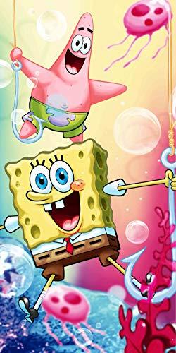Jerry Fabrics Sponge Bob Esponja - Toalla de ducha (70 x 140 cm), diseño de Bob Esponja 🔥