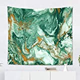 Suklly Tapestry Wall Hanging Polyester Abstract Golden Dark Green Home Decor Living Room Bedroom Dorm 60 X 80 Inches Rectangle Picnic Mat Beach Towel