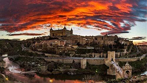 RHRW Puzzle de 1000 Piezas de Rompecabezas de Madera Rompecabezas Toledo España Paisaje de Rompecabezas Cielo Nocturno Castillo del río Regalos para niños Regalos para Adultos Juguetes de Bricolaje