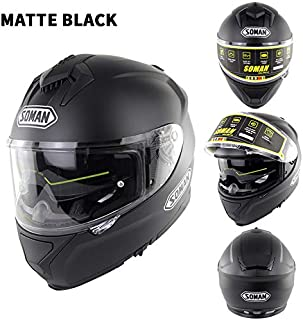EDTara Motorcycle Racing Helmet Outdor Riding Helmet Men and Women Motorcycle Helmet Double Lenses Compatiable with Glasses Safe ECE Standard Helmet Motorcycle Accessaries Matte Black XXL