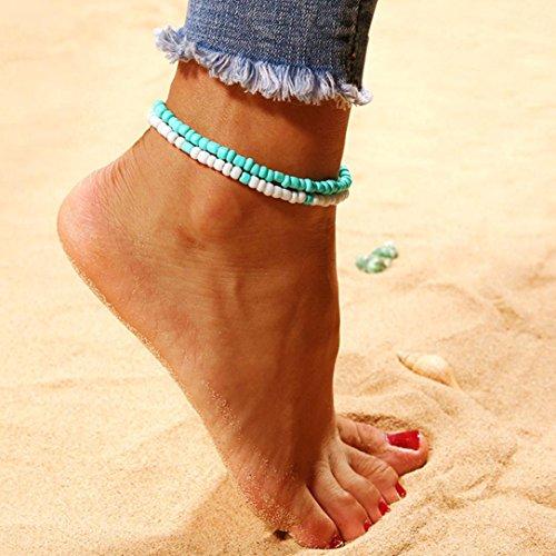 TAOtTAO Harz Lady Fashion Beach Abschnitt Doppel Perlen Fußkettchen Fuß Schmuck
