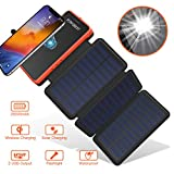 POWOBEST Solar Power Bank Wireless Solar Charger 20000mAh, Waterproof Portable External Battery with 3 Foldable Solar Panels,Flashlight,IPX5,Dual 5V/2.1A USB Ports,for Smartphones, Tables etc