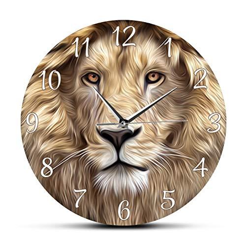 Wanduhr Küche Modern Lion Face Modern Print Wanduhr Rahmenlos Silent Non Ticking Wanduhr Safari Jungle Wildlife Tierkunstuhr Schlafzimmer Dekor Geeignet für Coffee Shop Bars