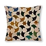 VinMea Decorative Cotton Linen Pillow Covers Alhambra Azulejos Throw Pillow Case Cushion Cover Home Decor,Square 22 X 22 Inches