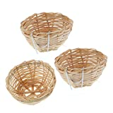 POPETPOP 3Pcs Natural Bamboo Handmade Bird Nest with Hook - Bird House for Resting Feeding Breeding - Bird Cage Accessories for Parakeets Parrots and Small Animals