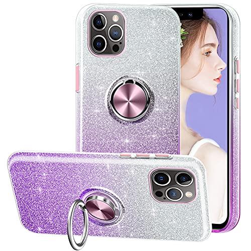 Tawarror Funda Compatible para iPhone 12/12 Pro, Gradiente Rhinestone Glitter Cristal 3-in-1 Brillante Silicona Carcasa con Anillo de Silicona de 360 Grados - Gradiente Violeta