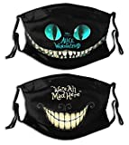 Cartoon Balaclava Face Mouth Cover Mask with Filter Pocket Adjustable Strap Reusable Washable Windproof (Alice in Wonderland Cheshire Cat)