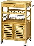 VIAGDO Servierwagen Holz Bambus Küchenwagen auf Rollen, Rollwagen Küchentrolley Küchenrollwagen Beistellwagen, inklusive Schränkchen, Schublade, Flaschenablage, Obstschütte, HBT:56x88x37 cm