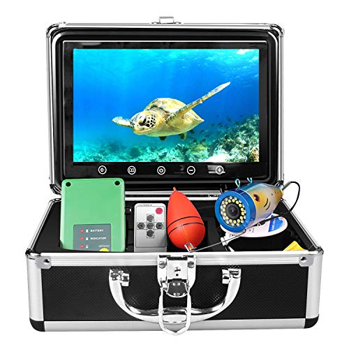 Portable Underwater Fishing Camera, 30 Adjustable IR and White LED Lights with 98-feet of Cable 9 inch HD Colour Monitor Fish Finder Good for Ice Fishing, Lake, Sea, Open Water, Boat