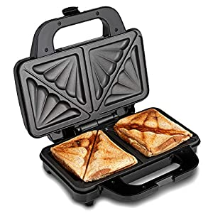 Global Gourmet by Sensiohome Sandwich Toaster/Toastie Maker – Deep Fill Non-Stick Hot Plates – 4 Slice Electric Grill Press Perfect for Toasted Cheese Snacks – 900W – Silver/Black