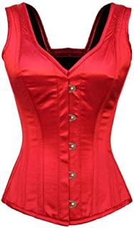 Sexy Red Satin Shoulder Straps Gothic Burlesque Costume Women's Overbust Corset