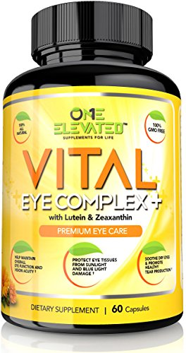 One Elevated Vital Eye Complex+ Supplement with Lutein, Zeaxanthin, Lycopene, Beta Carotene & Ginkgo Biloba - 60 Count