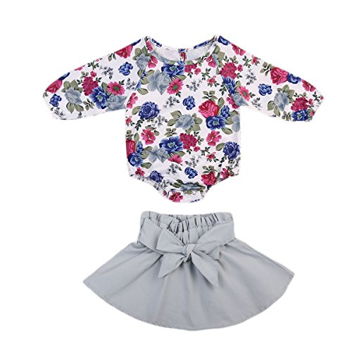 Infant Baby Girl Long Sleeve Floral Romper Bowknot Dress Skirt Casual Toddler Baby Girl Clothes Set Outfit 0-24M (0-6 Months, Blue)