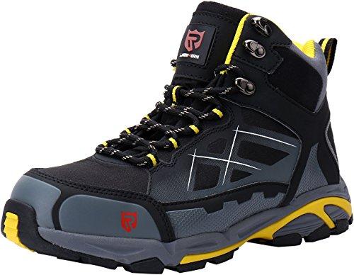 LARNMERN Chaussure de Securité Homme Légères, LM170202 S1P SRC Embout en Acier Respirables Réfléchissantes Chaussures de Travail 43,Noir Jaune