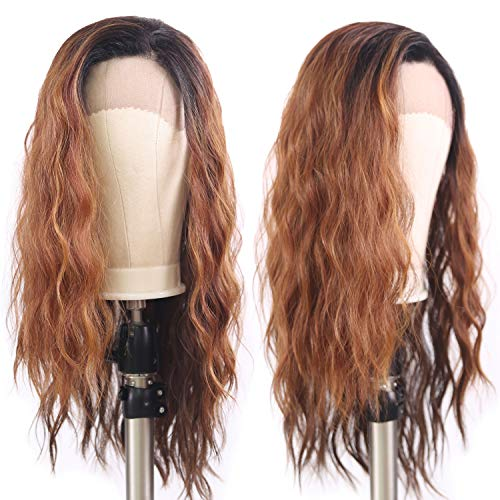 X-TRESS Synthetic Lace Front Wigs Ombre Brown 22 Inch Long Wavy Wig With Baby Hair Glueless Heat Resistant Half Hand Tied Fiber Hair Ombre Black To Brown Replacement Hair Wigs For Women (OP27)