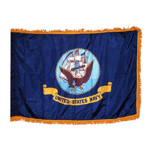 Online Stores Indoor Navy Nylon Flag with Indoor Pole Hem and Fringe, 3 by 5-Feet