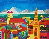 Gemälde'München Abstrakt', Acrylbild auf Leinwand, handgemalte Malerei