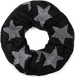 styleBREAKER Loop Schal mit Sterne Muster und edler Strass Applikation, Schlauchschal, Tuch, Damen 01018086, Farbe:Schwarz-Grau (One Size)