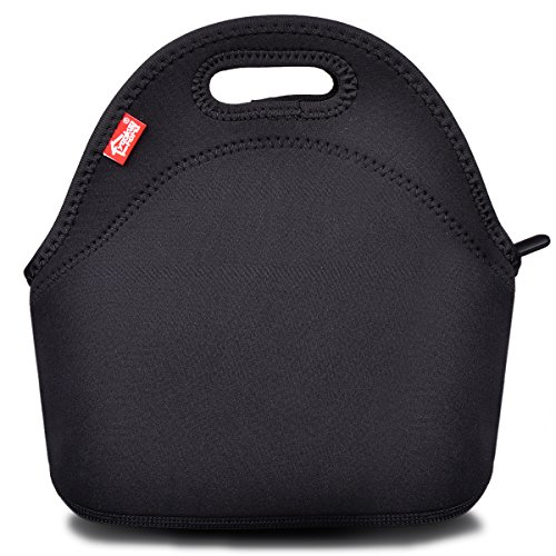 Black Neoprene Lunch Tote, Yookeehome Thick Reusable Insulated Thermal Lunch Bag Small Neoprene Lunch Box Carry Case Handbags Tote with Zipper for Adults Kids Nurse Teacher Work Outdoor Travel Picnic