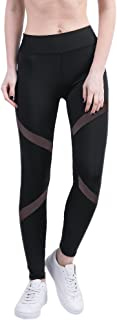 BOZEVON Women's Leggings, Plus Size High Waist Mesh Stitching Yoga Pants Running Tights for Gym & Workout