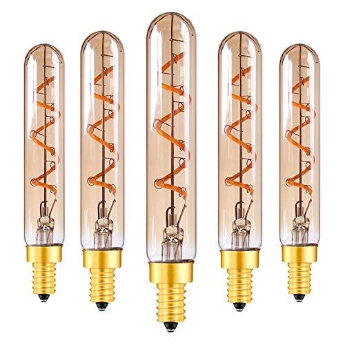 Bombillas LED decorativas de 2W,Candelabros T20/T6 E14 Fliament Luz LED Luz blanca cálida súper cálida de vidrio ámbar 2200K Lámpara colgante tubular de 20W Equivalente no regulable paquete de 5