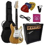 chitarre elettriche sunburst - chitarra elettrica sun burst - set con amplificatore da 20watt - borsa - plettro - corde - natura sunburst transparente