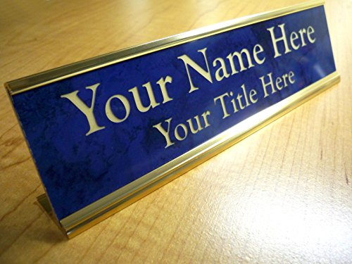 Custom Engraved 2x8 Premium Name Plate & Desk Holder | Marble Blue & Gold | Personalized Customized Desk Tag Sign