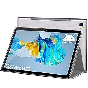 Tablet 10 Pulgadas Octa Core 6GB RAM 64GB/512GB ROM 1920 * 1200 FHD Android 10.0 Tablet PC 4G LTE+5G WiFi Tablet Baratas y Buenas 6500mAh Cámara 5MP+8MP Bluetooth,GPS,Type-C,Google Play,Netflix,Plata