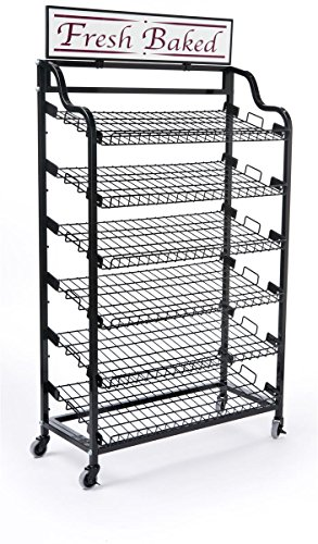 Displays2go BAKCRT6WBK Standing Baker's Rack with Two Optional Sign Holders, Wire Storage Rack and Wheels, Black
