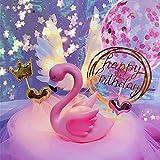 Aprildecember - Juego de 9 adornos para tarta con flamenco rosa, pluma, globo con luz LED, Happy Birthday, base de figuras, corona y 2 formas de corazón