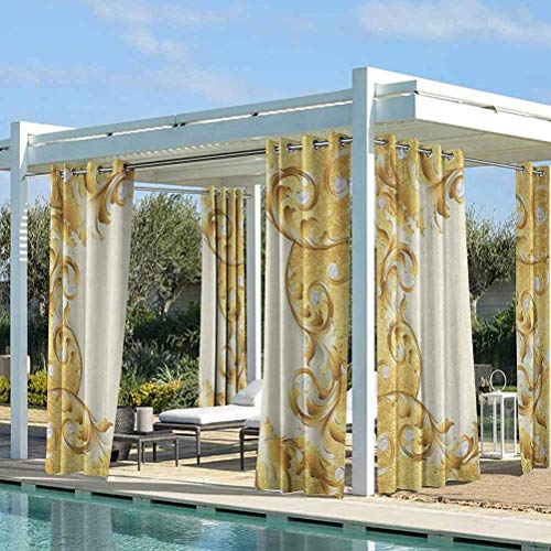 Pearls Outdoor Printed Curtains Voile Drapes for Lawn Corridor Terrace Garden Illustration of a Frame with Ornaments and Pearls Baroque Style Floral Patterns Cream Golden 118W x 95L Inch